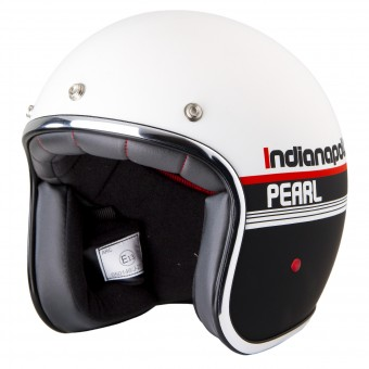Casque jet Stormer Pearl Indianapolis Negro Blanco Mat