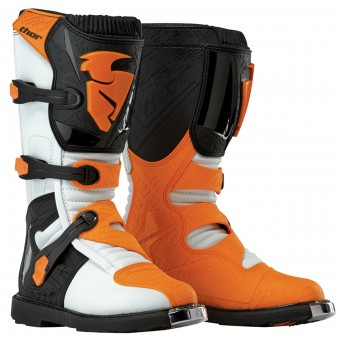 Botas Motocross Thor Blitz Black White Orange Niño