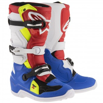 Botas Motocross Alpinestars TECH 7 S Blue Red Yellow Fluo Niño