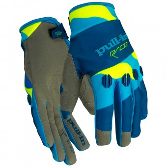 Guantes motocross pull-in Fighter Camo Blue Neon