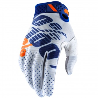 Guantes motocross 100% Ridefit White Navy