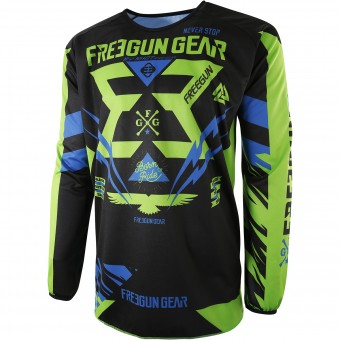 Camiseta Motocross Freegun Devo Trooper Green Blue Niño