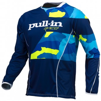 Camiseta Motocross pull-in Fighter Camo Blue Neon Yellow