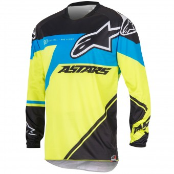 Camiseta Motocross Alpinestars Racer Supermatic Blue Yellow Niño