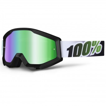 Gafas motocross 100% Strata Black Lime Mirror Green Lens