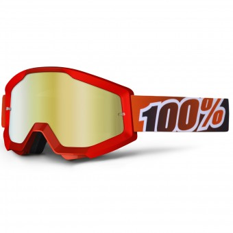 Gafas motocross 100% Strata Fire Red Mirror Gold Lens