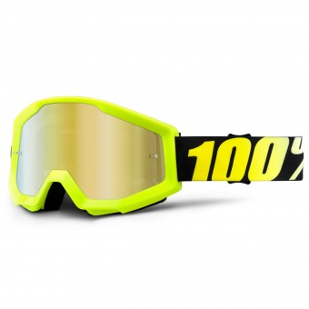 Gafas motocross 100% Strata Neon Yellow Mirror Gold Lens