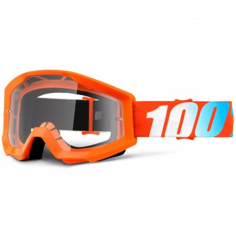 Gafas motocross 100% Strata Orange Clear Lens Niño