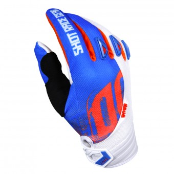 Guantes motocross SHOT Devo Venom Blue White Orange Niño