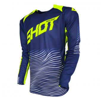 Camiseta Motocross SHOT Aerolite Optica Blue Neon Yellow