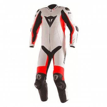 Mono Moto Cuero Dainese D-Air Racing Misano White Fluo Red Black