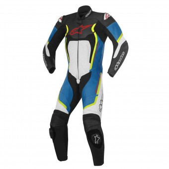 Mono Moto Cuero Alpinestars Motegi V2 Black White Blue Yellow Fluo