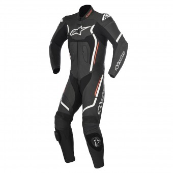 Mono Moto Cuero Alpinestars Motegi V2 Black White Red Fluo