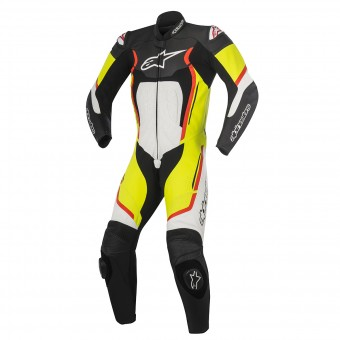 Mono Moto Cuero Alpinestars Motegi V2 Black White Yellow Red Fluo