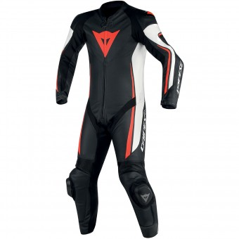 Mono Moto Cuero Dainese Assen 1PC Perf Black White Red Fluo