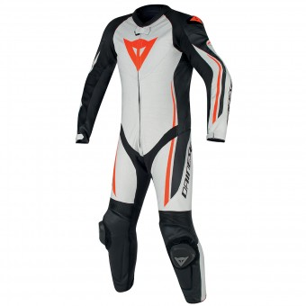Mono Moto Cuero Dainese Assen 1PC Perf White Black Red Fluo