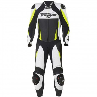 Mono Moto Cuero Furygan Full Apex White Yellow Fluo Black