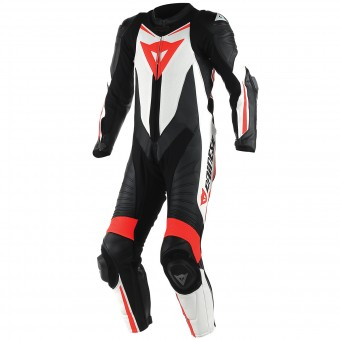 Mono Moto Cuero Dainese Laguna Seca D1 1 PC. Perforated Black Red Fluo