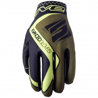 Guantes moto Five MX Practice Kaki Yellow Fluo
