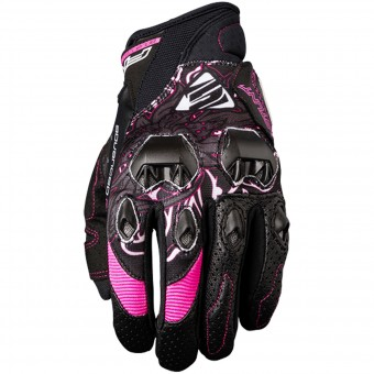 Guantes moto Five Stunt Evo Replica Woman Flower Pink