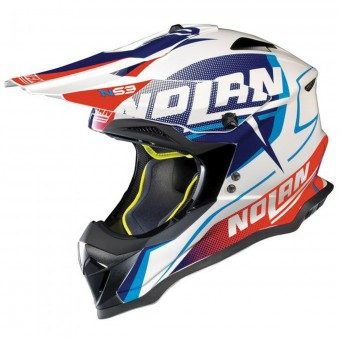 Casque Cross Nolan N53 Sidewinder White Blue Red 42