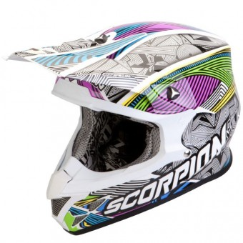 Casque Cross Scorpion VX-20 Air Geo Blanco Negro Multi