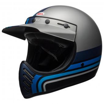 Casque Cross Bell Moto-3 Matte Silver Black Blue Stripes