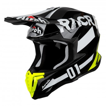 Casque Cross Airoh Twist Racr Negro Blanco Amarillo
