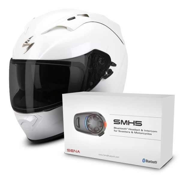 ccc006d2 Casco moto Scorpion EXO 1200 Air Blanco + Sena SMH5 Bluetooth Kit ...