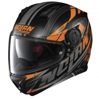 Casque Integral Nolan N87 Fulmen N-Com Flat Black Orange 52