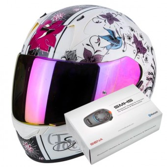 Casque Integral Scorpion Exo 390 Chica Pearl White Black