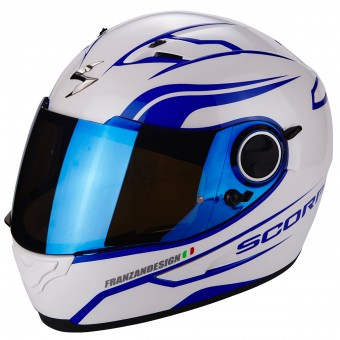 Casque Integral Scorpion Exo 490 Vsion Luz White Blue
