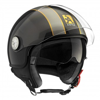 Casque jet Astyle A-Style Double Visor Black Grey