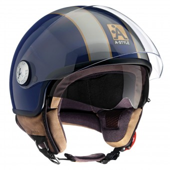 Casque jet Astyle A-Style Double Visor Blue Grey