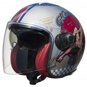 Casque jet Premier Vangarde Pinup Old Style Silver