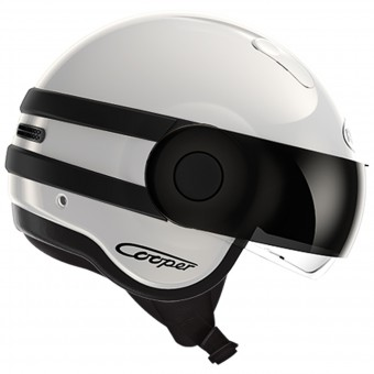 Casque jet Roof Cooper Bicolor Blanco Negro Mate