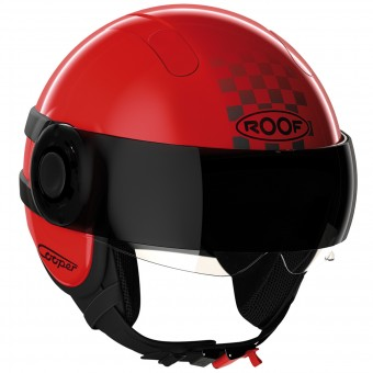Casque jet Roof Cooper Sunset Rojo Negro Mate