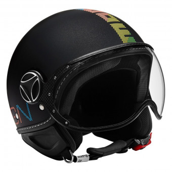 Casque jet Momo Design FGTR Pixel Metal Black Mat