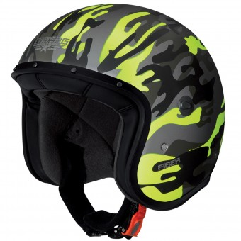 Casque jet Caberg Freeride Commander Matt Green Yellow Fluo