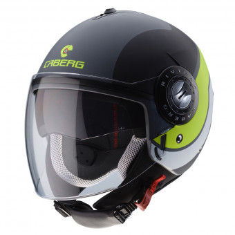 Casque jet Caberg Riviera V3 Sway Matt Anthracite Black Yellow