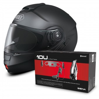 Casque Modular Shoei Neotec Negro Mate + Sena 10U Bluetooth Kit