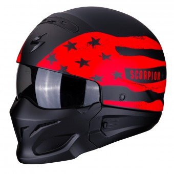 Casque Convertible Scorpion Exo Combat Rookie Negro Mate Rojo