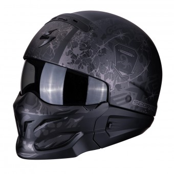 Casque Convertible Scorpion Exo Combat Stealth Negro Mate Plata