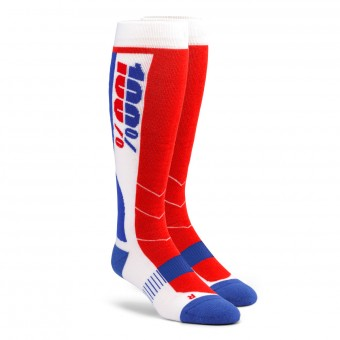 Calcetines Motocross 100% Socks Hi-Side Performance Azul Rojo