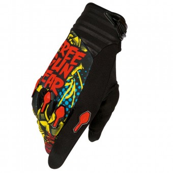 Guantes motocross Freegun Devo Iron Black Red Blue Niño
