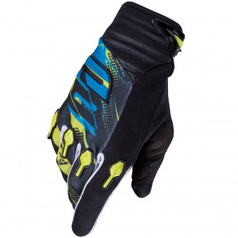 Guantes motocross SHOT Devo Capture Lime Blue Niño