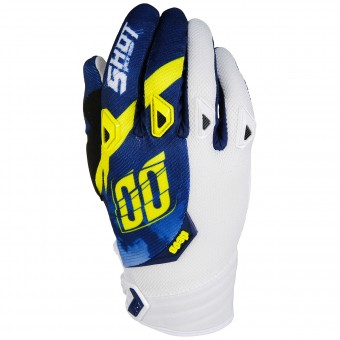 Guantes motocross SHOT Devo Squad Blue Yellow White