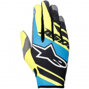 Guantes motocross Alpinestars Racer Supermatic Black Blue Yellow Enfant
