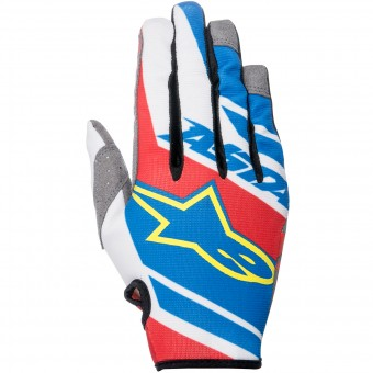 Guantes motocross Alpinestars Racer Supermatic Blue Red White Niño