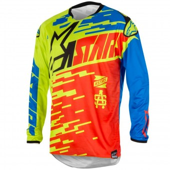 Camiseta Motocross Alpinestars Racer Braap Red Blue Niño